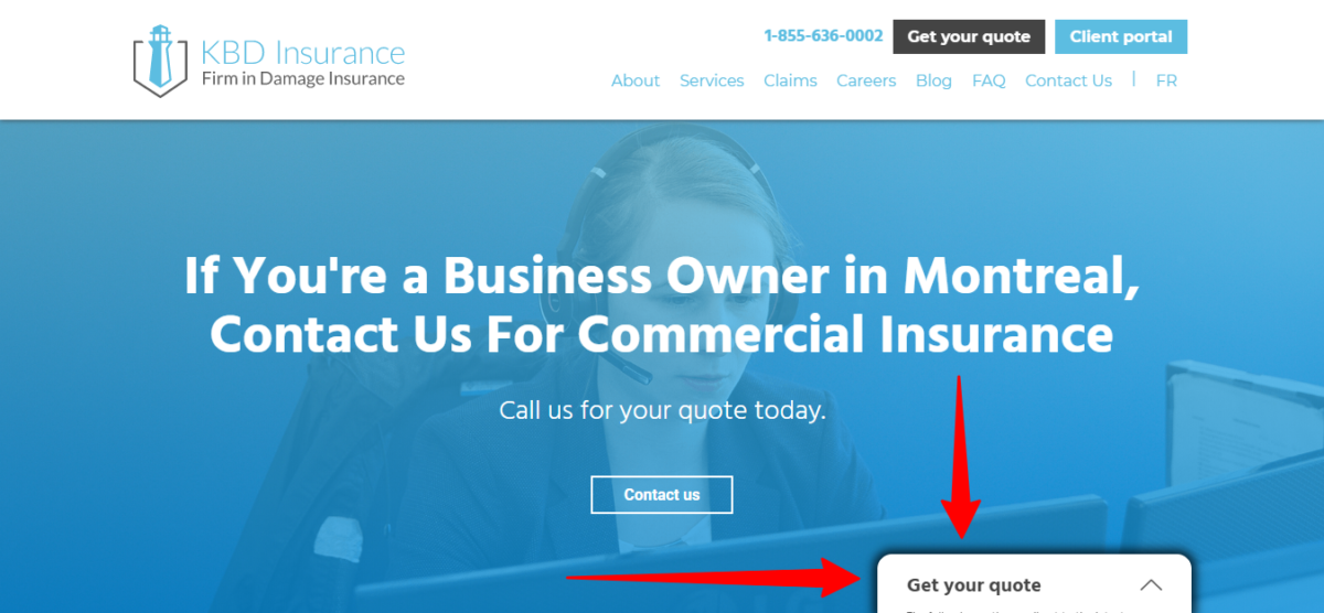 home page for business insurance web page