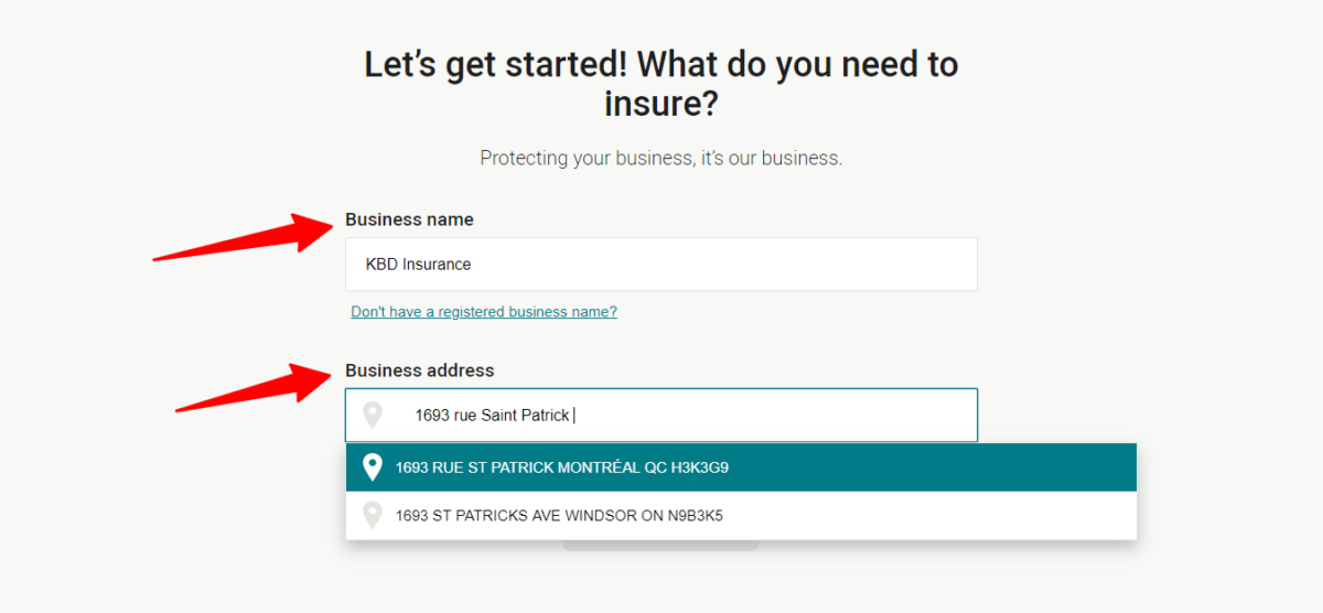 screenshot of business insurance quote step 3