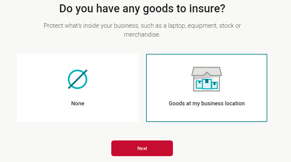 screenshot of business insurance quote step 7