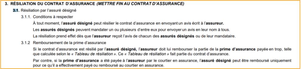 resiliation assurance auto quebec