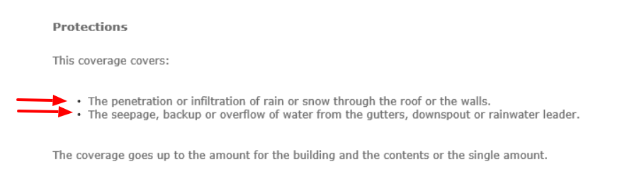 roof water damage coverage definition